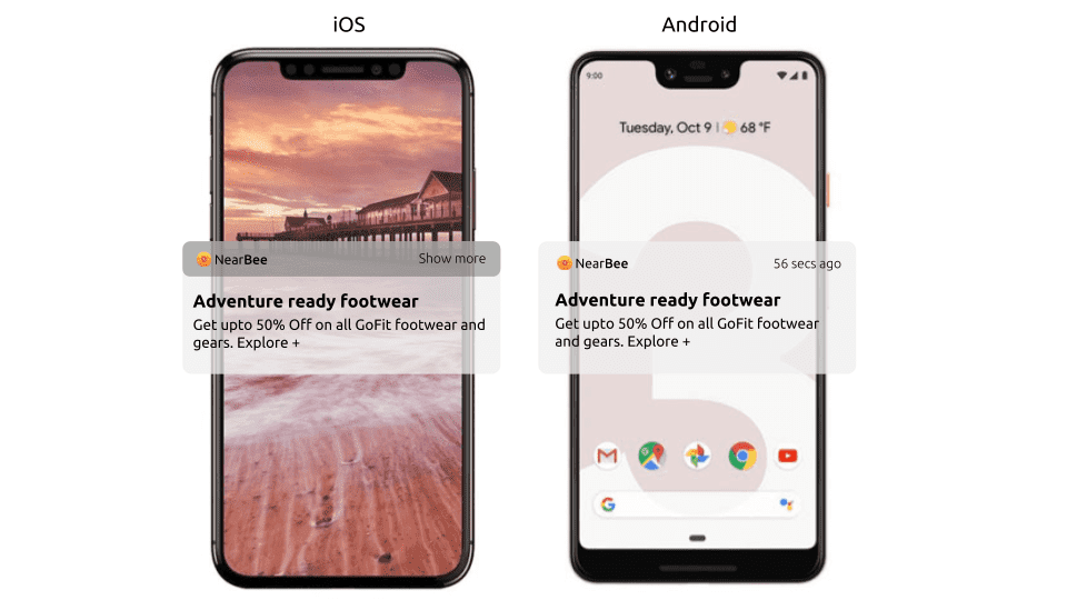 Beacon marketing notifications on Android and iOS