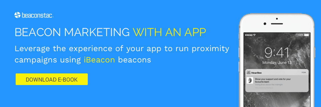 Beacon marketing with an app