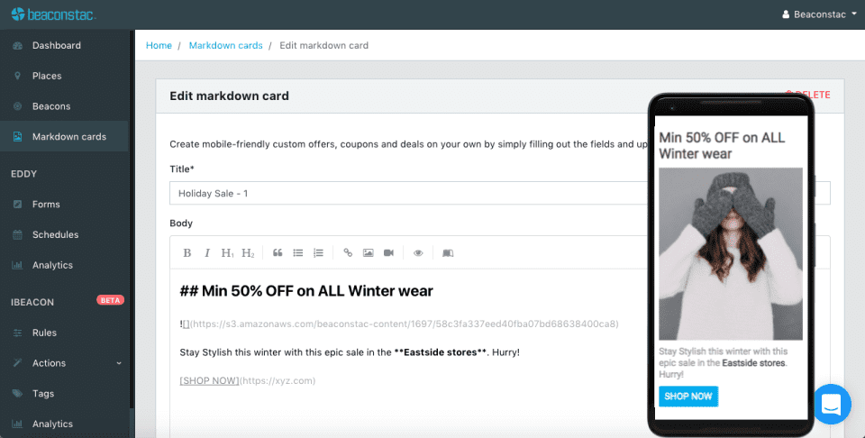 Beacon notifications markdown card