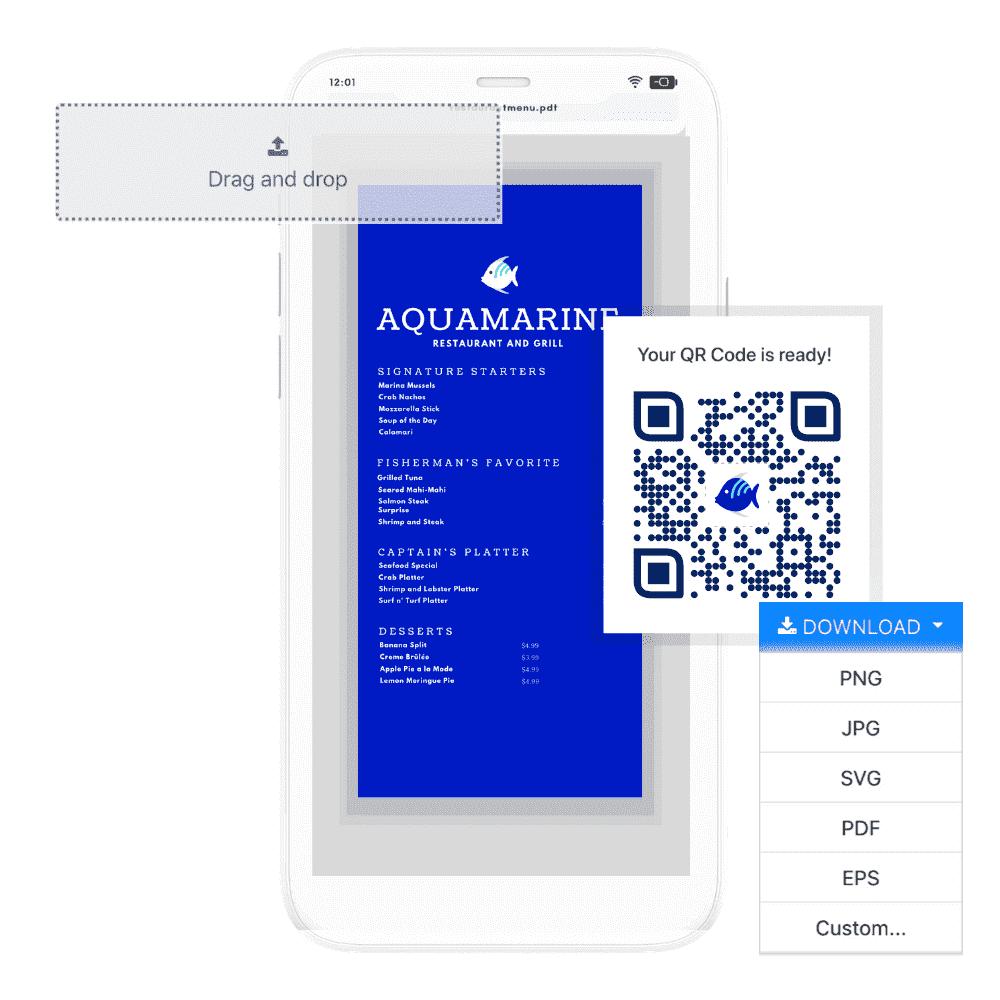 pdf qr menu to qr