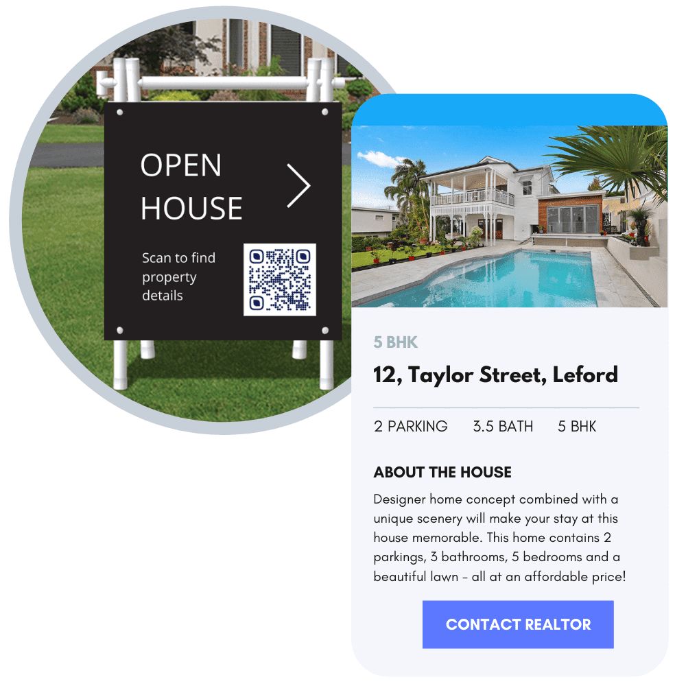 Property ads with QR Codes to view the property